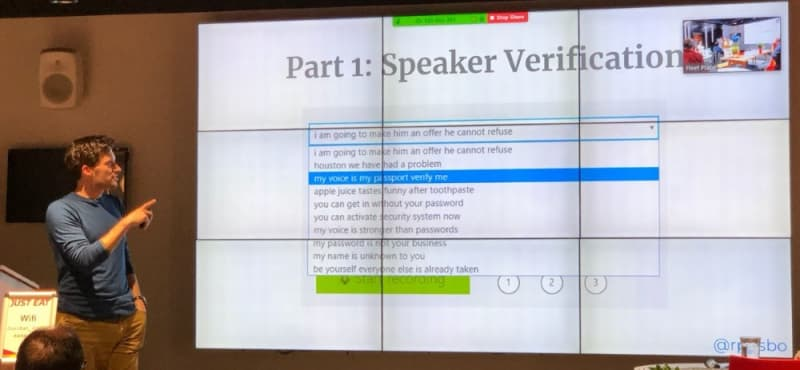 Robin Osborne - ME - listing off the phrases needed to set up speaker verification