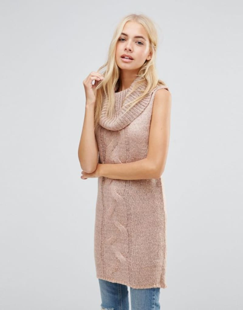 Longline Roll Neck Sleeveless Nude Jumper
