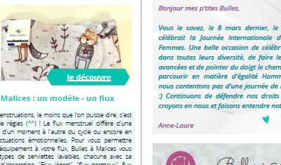 Newsletter pour la boutique Bulles à Malices