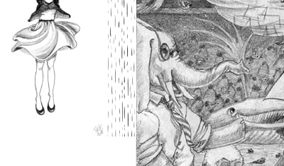 Panel d'illustration au crayon