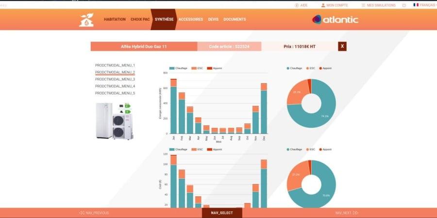 Application Web, Outil de calcul de chauffage pour l'achat d'une pompe à chaleur