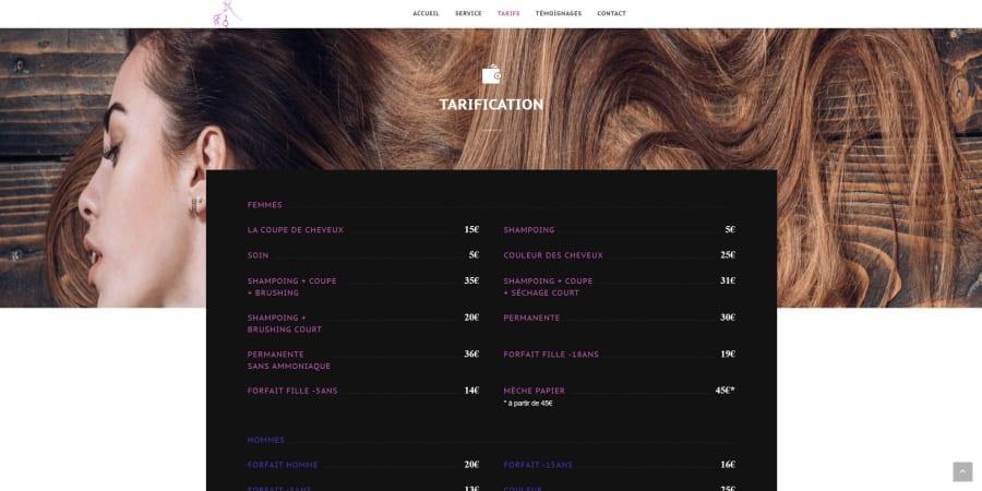 Site vitrine standard pour un salon de coiffure