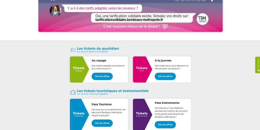 Accompagnement projet de refonte du site boutique de TBM Bordeaux