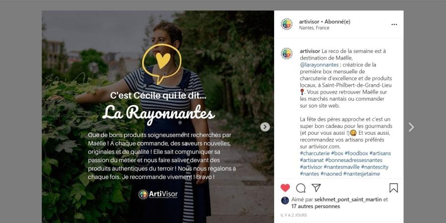 Retour de client sur Instagram