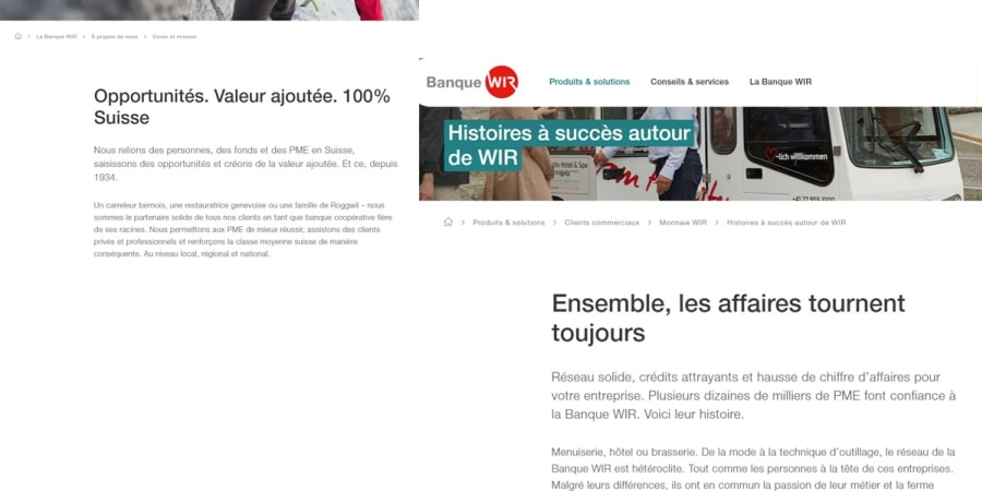Refonte du site web de la Banque WIR