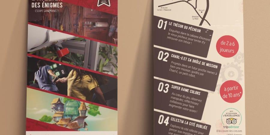 Flyer : escape game L'atelier des énigmes