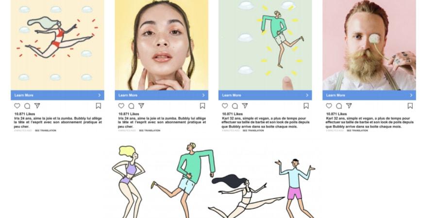 conception stratégie communication et réseaux sociaux pour la marque BUBBLY