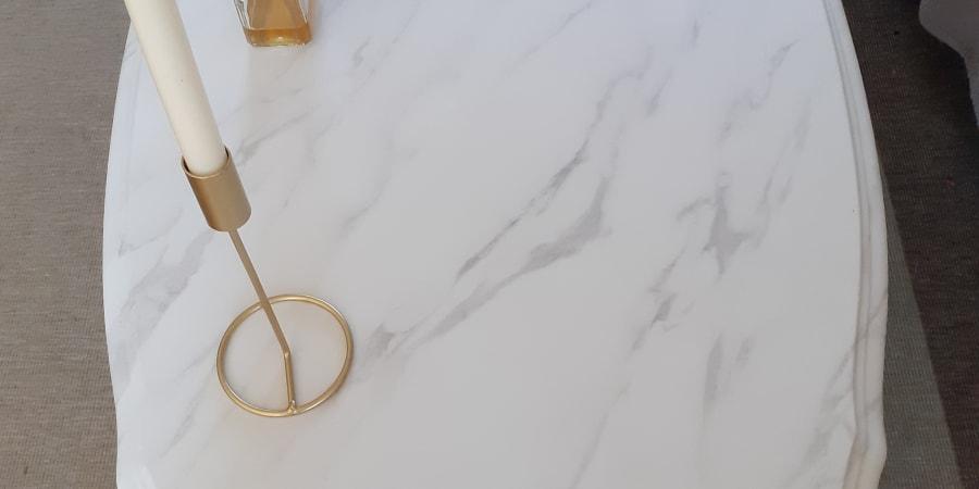 Table basse en marbre après customisation