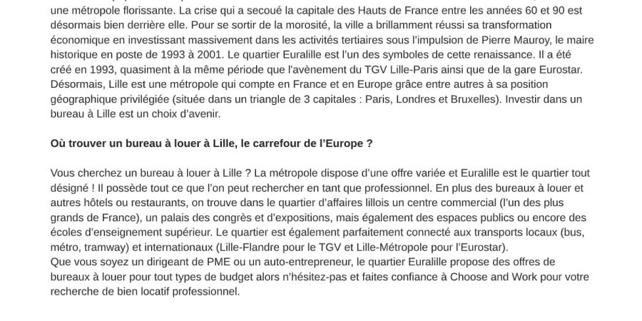 Redaction SEO - Bureau à louer Lille
