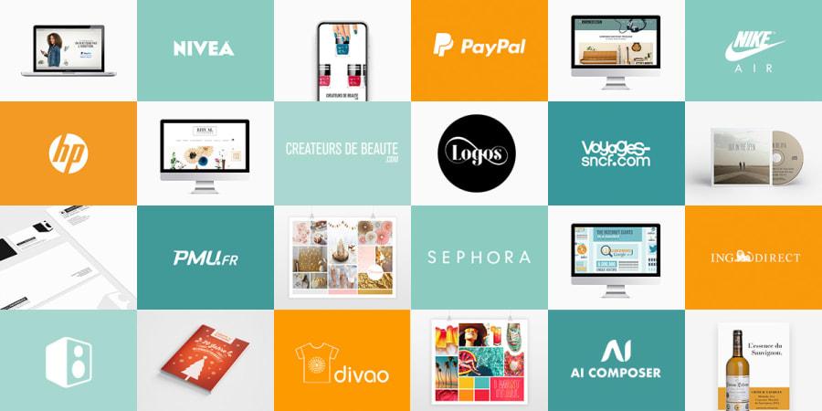 Aperçu de mes travaux : identité visuelle, logo, emailing, site internet, publicité