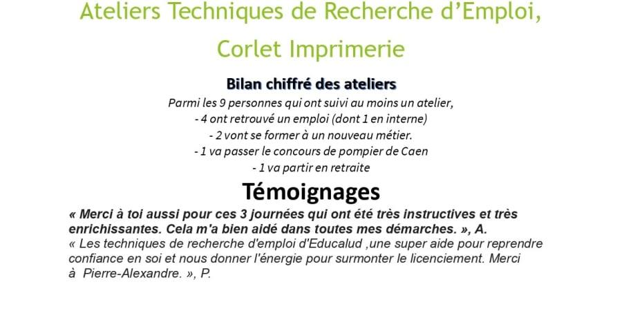 Ateliers Techniques de Recherche d'Emploi, Corlet imprimerie