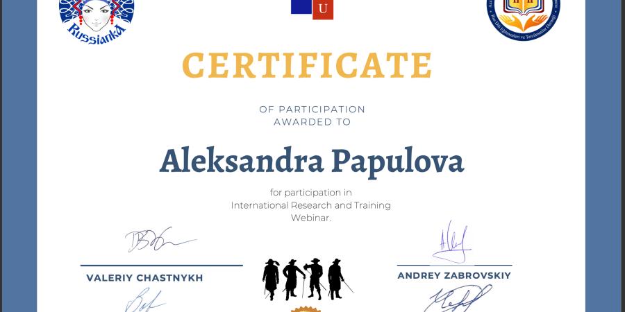 certificat de participation
