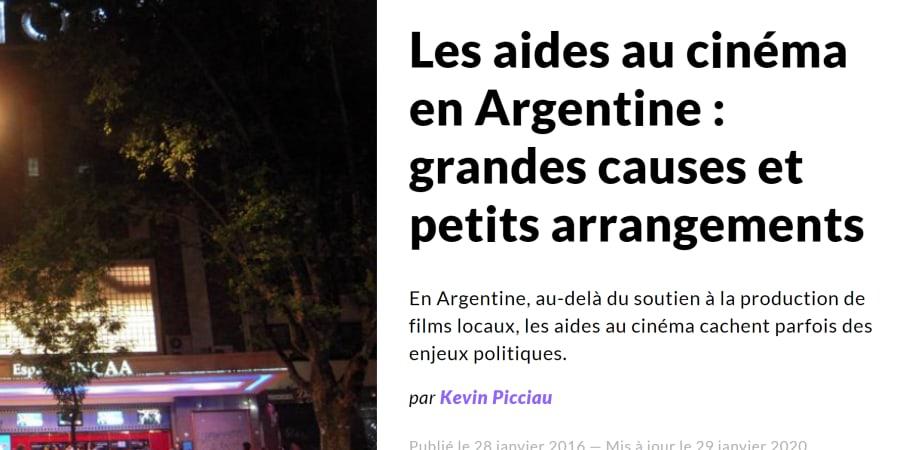 Les aides au cinéma en Argentine : entre grandes causes et petits arrangements