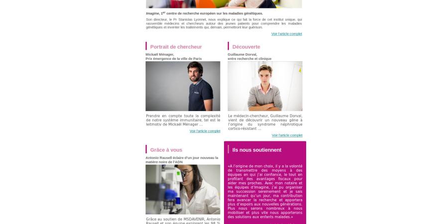 Realisation du template de la newsletter de l'institut Imagine