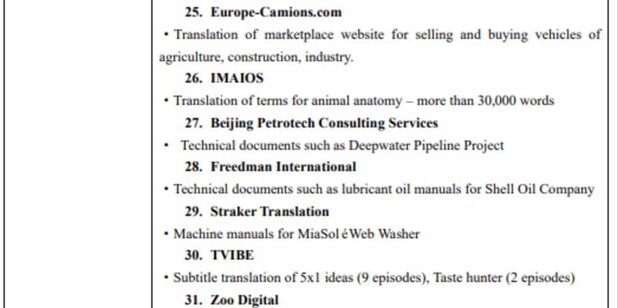 List of my translation work 3