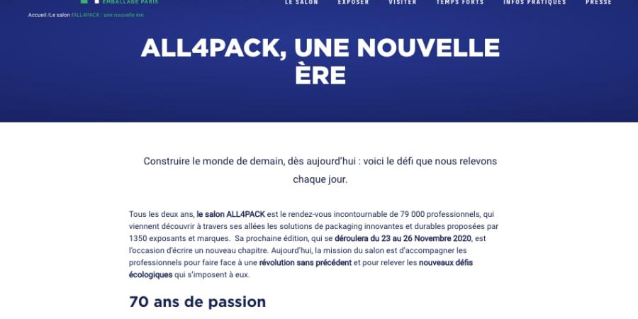 Rédaction contenus vitrine site All4Pack