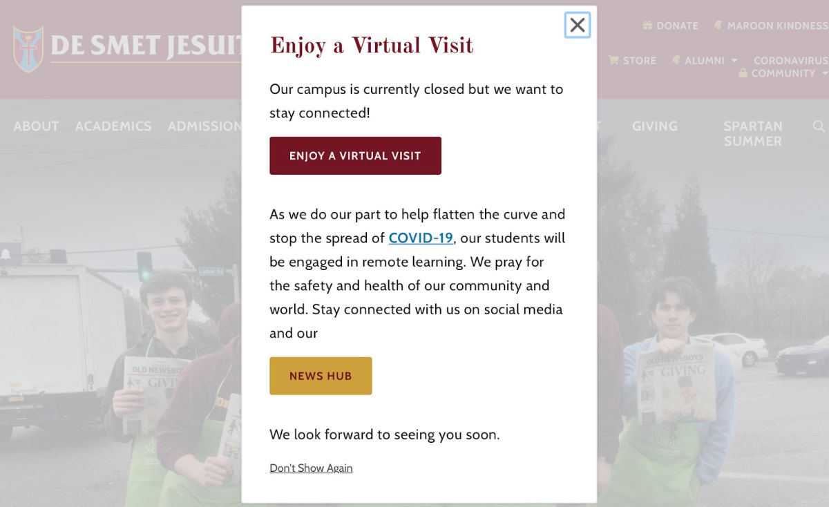 homepage message