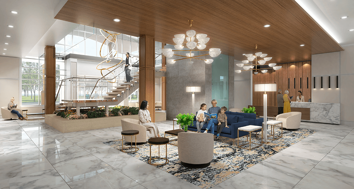 Lobby of the Shores of Port Credit rendering
