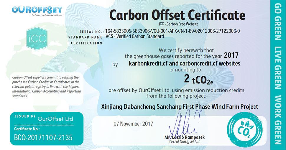 Igazolás a weboldal karbonsemlegességéhez felhasznált karbon ellentételezési egységre vonatkozóan