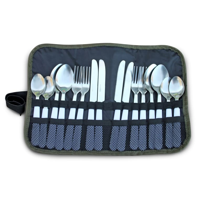 Camp Cover 16 Piece Cutlery Roll- Up Set - default