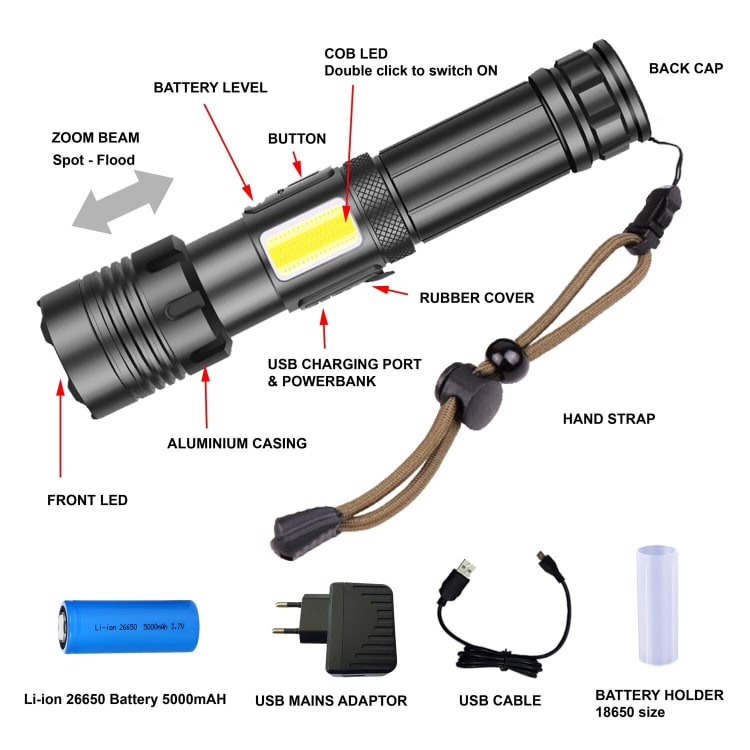 Zartek 1500 Lumen High Bright Rechargeable Flashlight - default