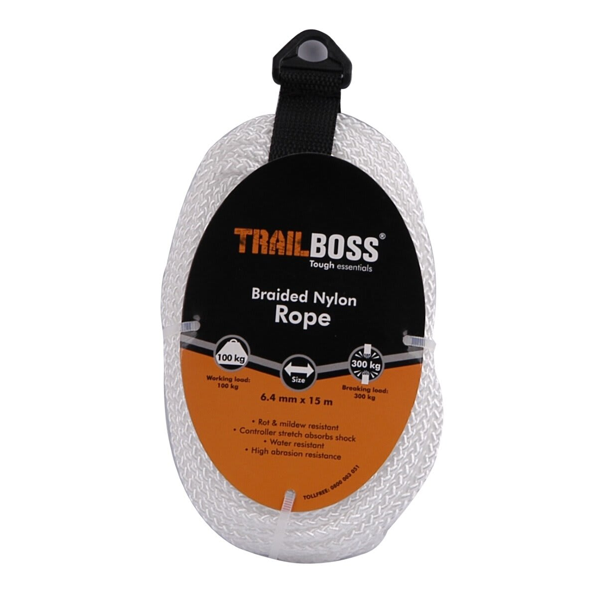 TrailBoss 6.4mm x 15m Braided Nylon Rope