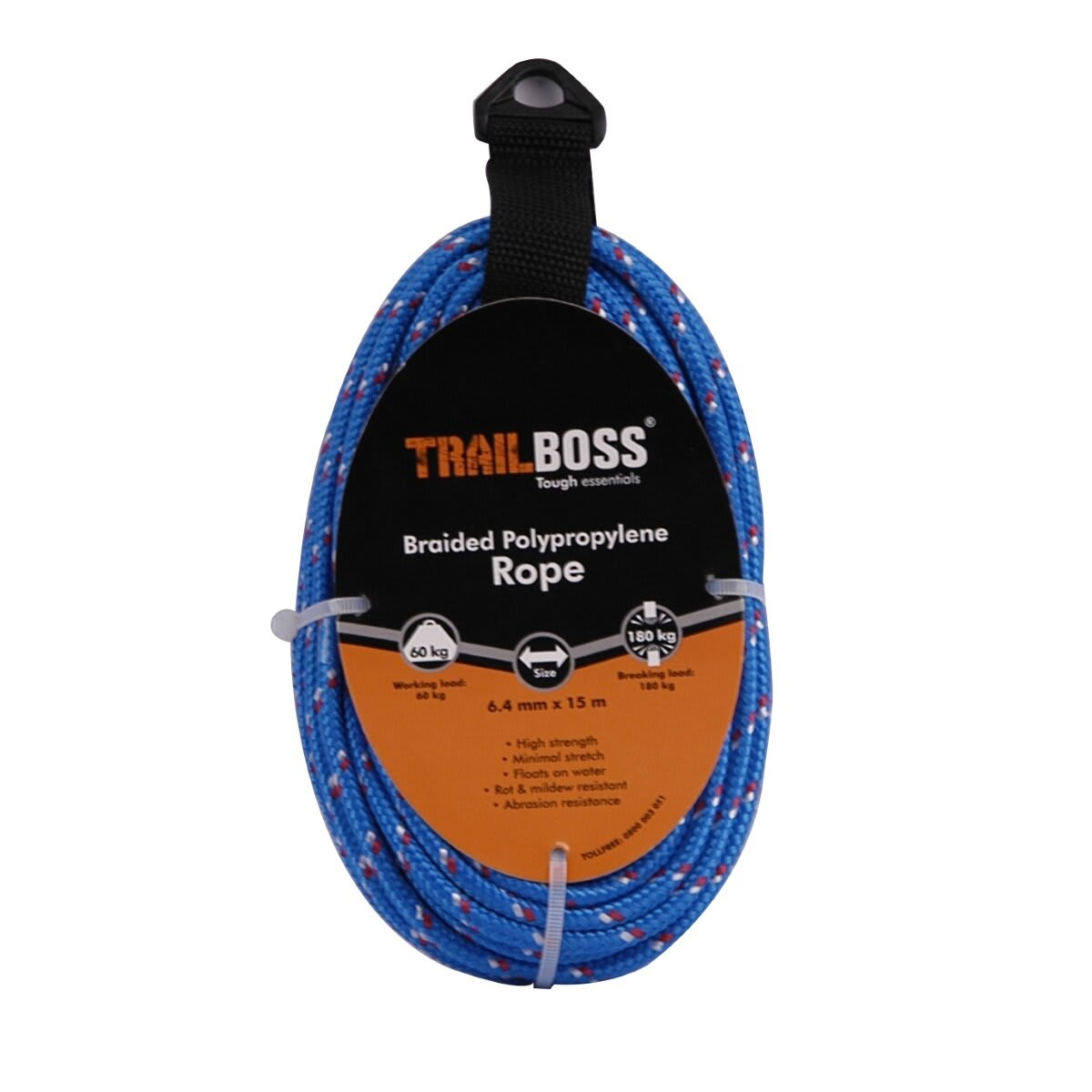TrailBoss 6.4mm x 15m Braided Polypropylene Rope