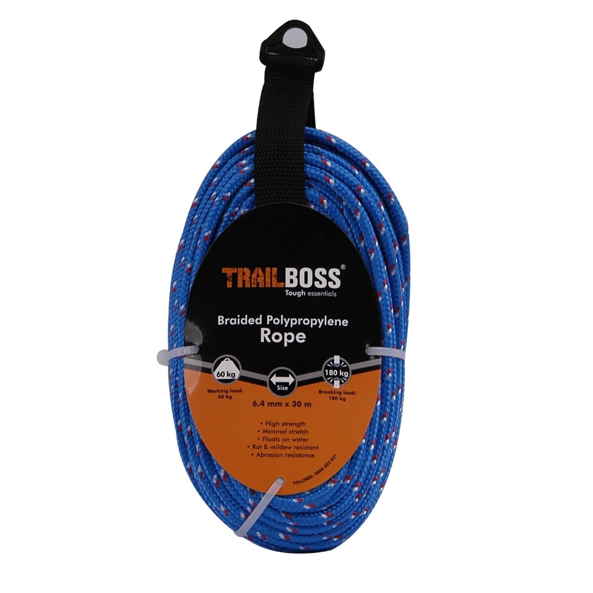 TrailBoss 6.4mm x 30m Braided Polypropylene Rope