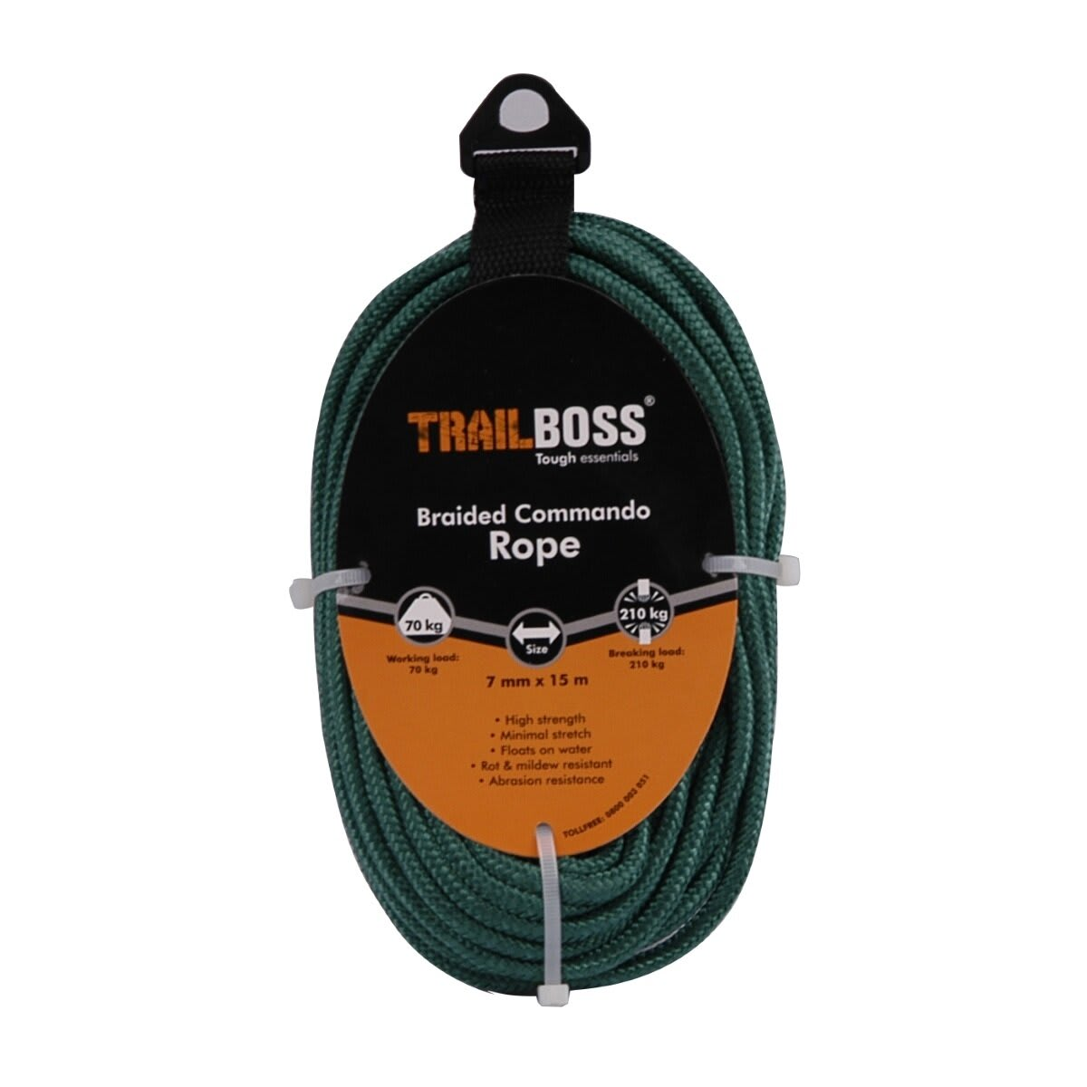 TrailBoss 7mm x 15m Braided Commando Rope
