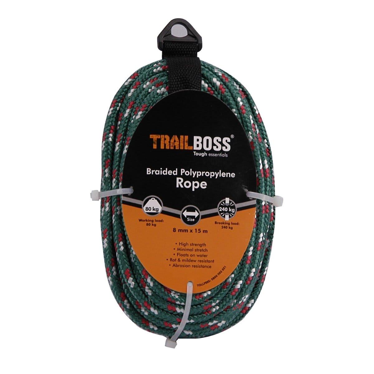 TrailBoss 8mm x 15m Braided Polypropylene Rope