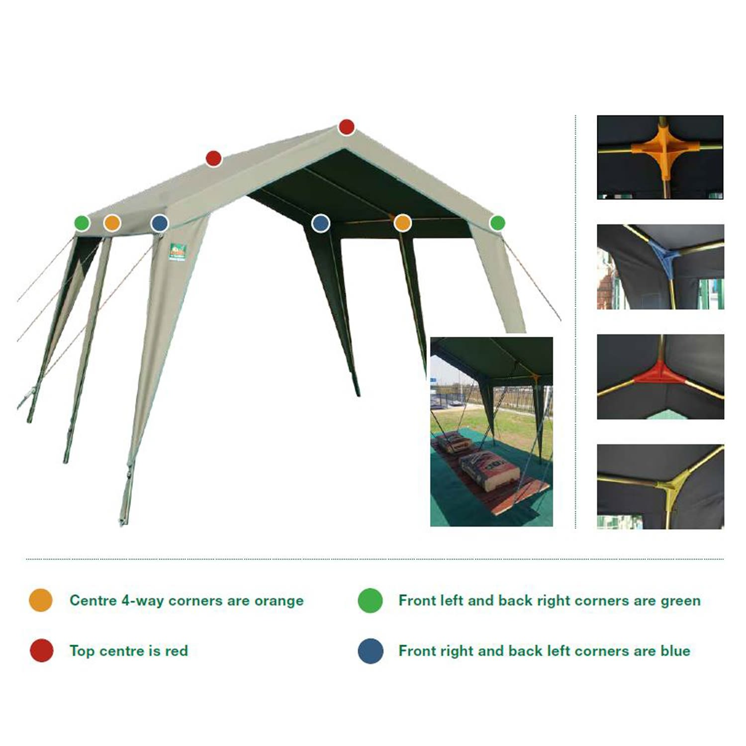 Tentco Senior Gazebo 3 Way Corner - Red