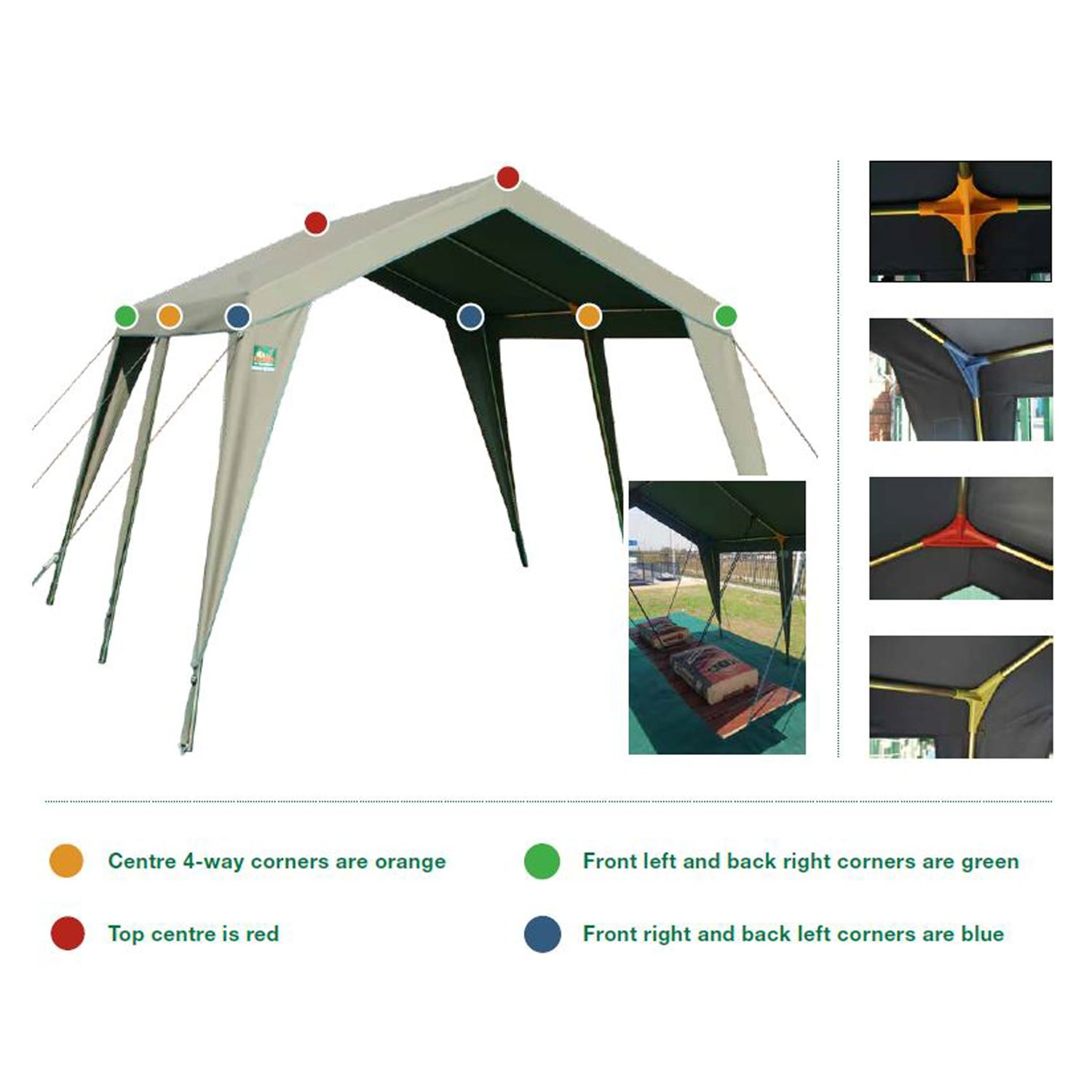 Tentco Senior Gazebo 4 Way Corner - Orange