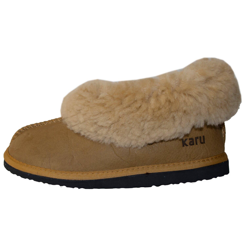 Karu Sheepskin Wool Slippers (Size: 3-7 Mid-Brown/Brown/Cream)