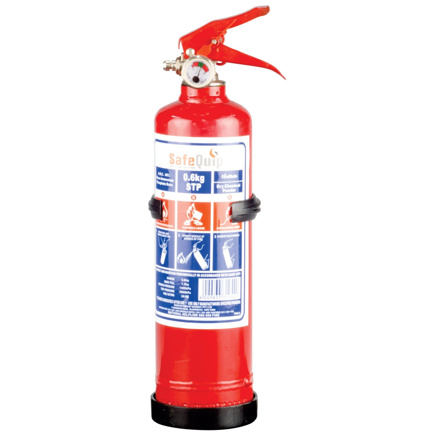 SafeQuip Fire Extinguisher 0.6Kg With Bracket