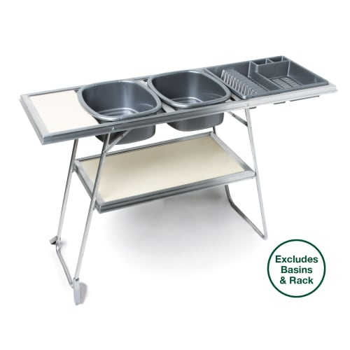 Aluminium Double Dishwash Stand with Shelf