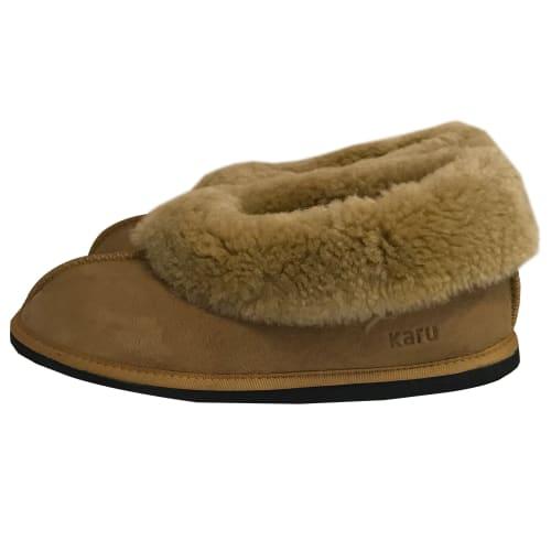 Karu Sheepskin Wool Slippers (Size: 3-7 Tan/Brown/Cream)