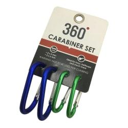 360Degrees Aluminium 4-Set Carabiners