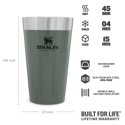 Stanley Adventure Stacking Beer Pint 470ml Hammertone Green