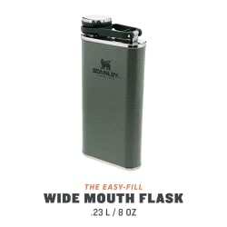 Stanley Classic Pocket Flask 236ml Easy Pour Wide Mouth Hammertone Green