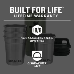 Stanley Adventure S/Steel Shot Glass Set Hammertone Green