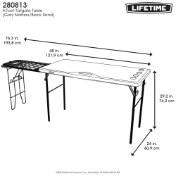 Lifetime 1.2M Table with Side Wire Table
