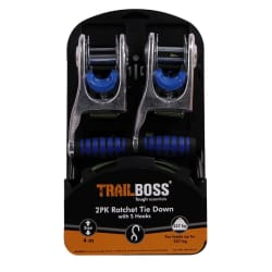 TrailBoss Ratchet Tie Down 4M with S Hooks 2Pack