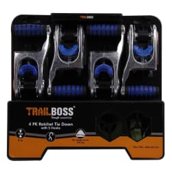 TrailBoss Ratchet Tie Down 4Pack with S Hooks