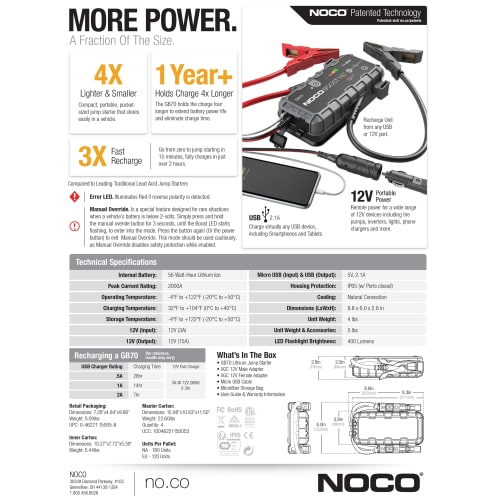 Noco Genius GB70 Boost HD Jump Starter