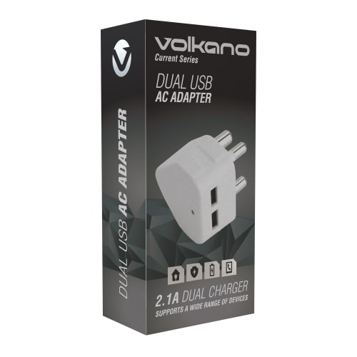 Volkano Current Dual USB AC Adaptor Plug