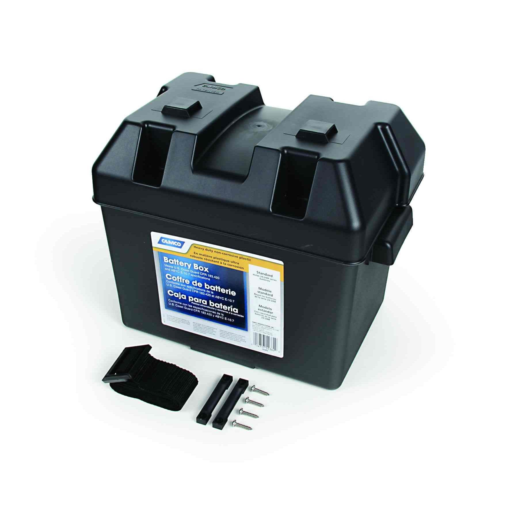 Snap Top Battery Box for Automotive Marine and RV Batteries Travel Heavy Duty