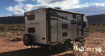 Off grid camp in Moab in our new trailer NO TOW VEHICLE NEEDED! We deliver and pick up the RV  trailer in Moab desert campground