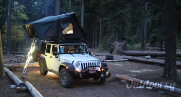 2017 Jeep Rubicon with iKamper Roof Top Tent.