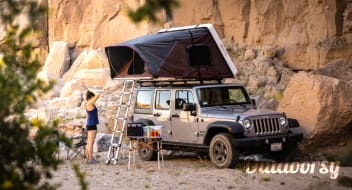 Jeep Wrangler Overlander #1 with Roof Top Tent and camping equipment