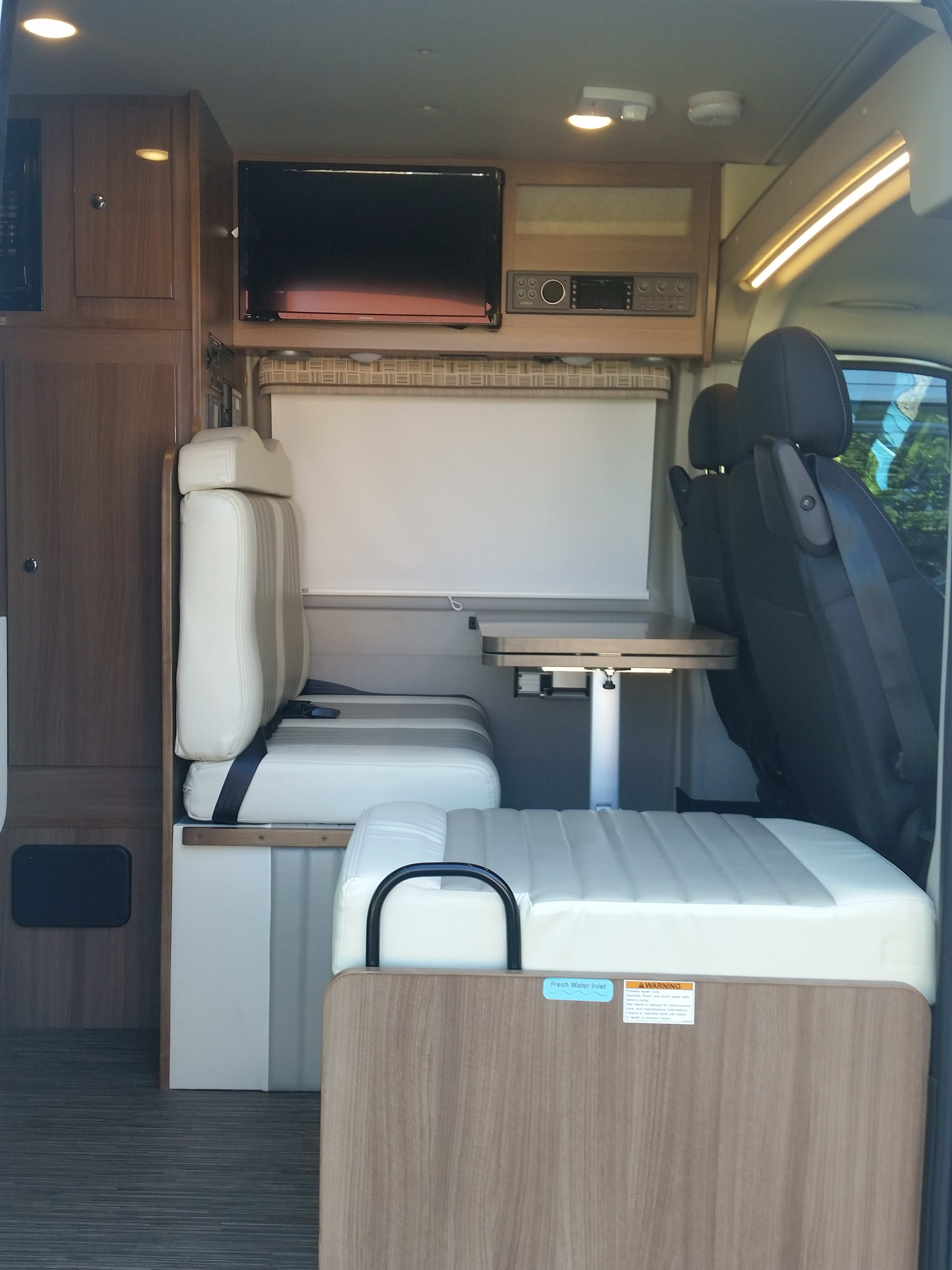 Great space for eating and playing games. Winnebago Travato 2018